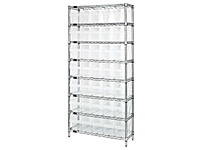 Quantum Clear-View Store-Max 8 Inch (in) Wire Shelving with Shelf Bin
