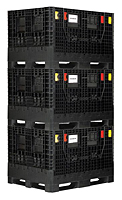 Black QBB-4845-34 Collapsable Bulk Box (Stacked)